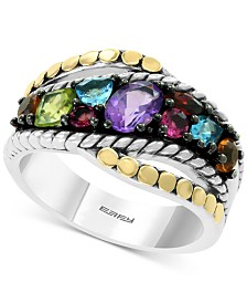 EFFY® Multi-Gemstone Statement Ring (1-3/8 ct. t.w.) in Sterling Silver & 18k Gold
