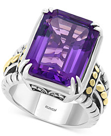 EFFY® Amethyst Statement Ring (10-7/8 ct. t.w.) in Sterling Silver & 18k Gold