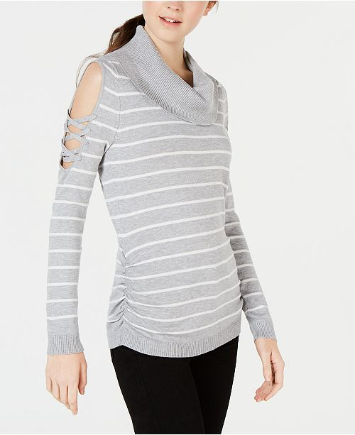 80b302a282 ... Hooked Up by IOT Juniors  Striped Cowlneck Cold-Shoulder Sweater ...