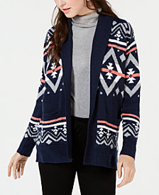 Hippie Rose Juniors' Printed Shawl-Collar Cardigan
