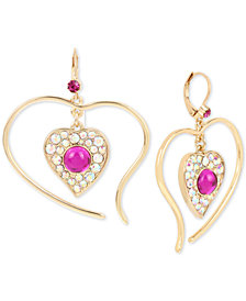 "Betsey Johnson Large Gold-Tone Stone Heart Drop Earrings, 2"""