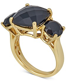 Onyx Three Stone Ring in 14k Gold-Plated Sterling Silver