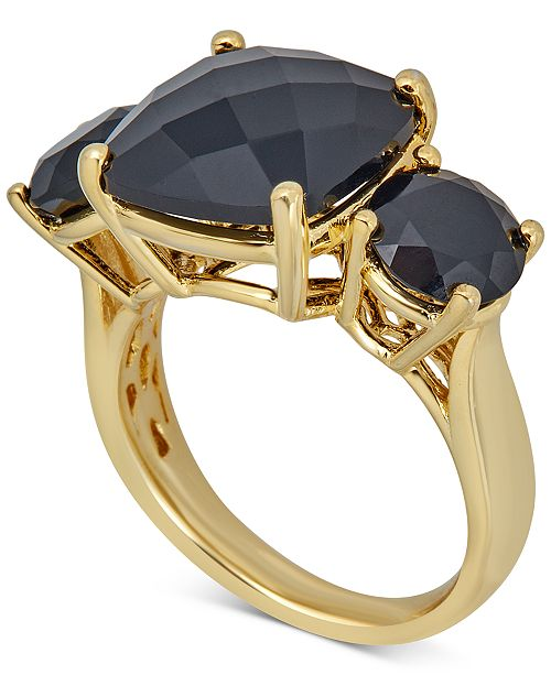 Macy's Onyx Three Stone Ring in 14k Gold-Plated Sterling Silver