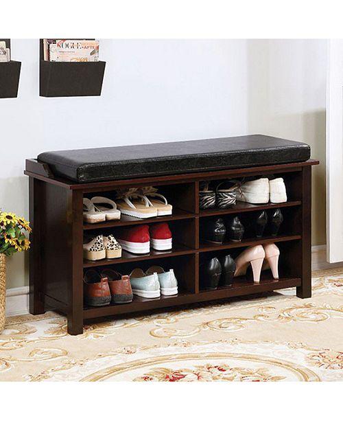 Benzara Shoe Rack Bench with 6 Shelves