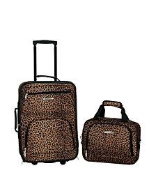 Rockland 2-Piece Leopard Luggage Set