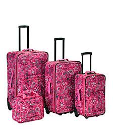 Rockland 4PCE Pink Bandana Softside Luggage Set