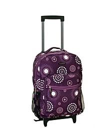"Purple Pearl 17"" Rolling Backpack"