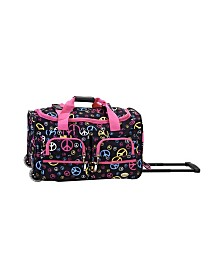 "Rockland Peace Signs 22"" Rolling Duffle Bag"