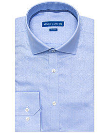 Vince Camuto Men's Slim-Fit Comfort Stretch Winter Blue Jacquard Dress Shirt