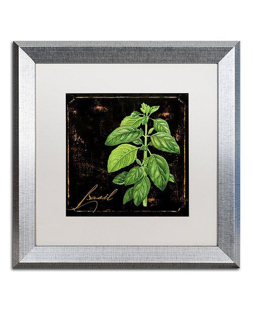"Trademark Global Color Bakery 'Black Gold Herbs Iv' Matted Framed Art, 16"" x 16"""