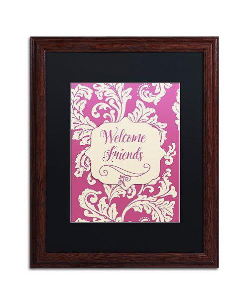 "Trademark Global Color Bakery 'Welcome Flag Pink' Matted Framed Art, 16"" x 20"""