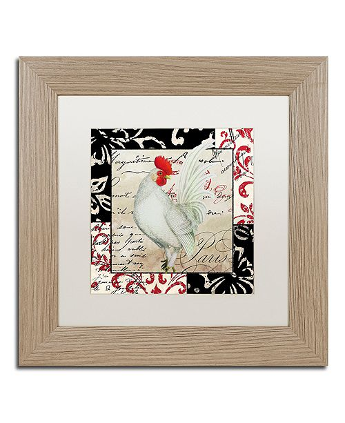 "Trademark Global Color Bakery 'Europa White Rooster' Matted Framed Art, 11"" x 11"""