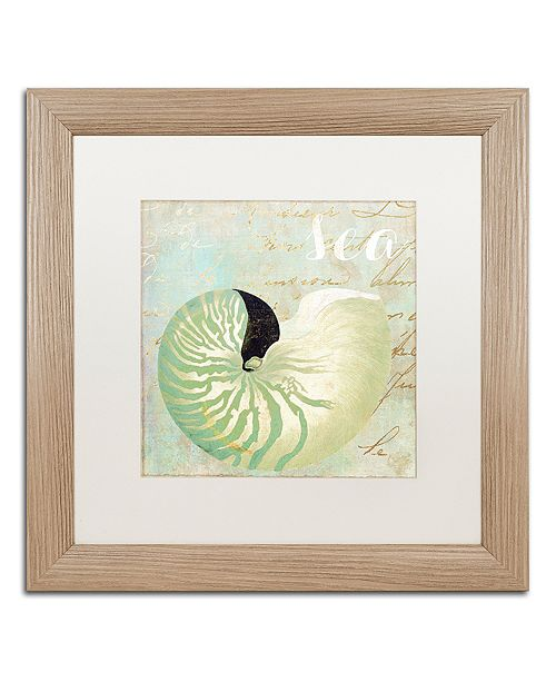 """Trademark Global Color Bakery 'Turquoise Beach I' Matted Framed Art, 16"""" x 16"""""""