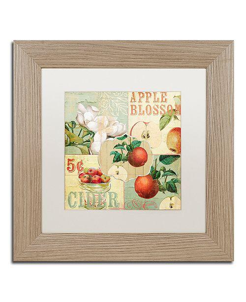 "Trademark Global Color Bakery 'Apple Blossoms I' Matted Framed Art, 11"" x 11"""