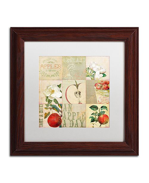 "Trademark Global Color Bakery 'Apple Blossoms Iii' Matted Framed Art, 11"" x 11"""