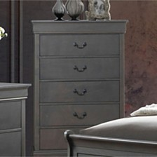 Contemporary Style Wooden Chest With 5 Drawers, Gray