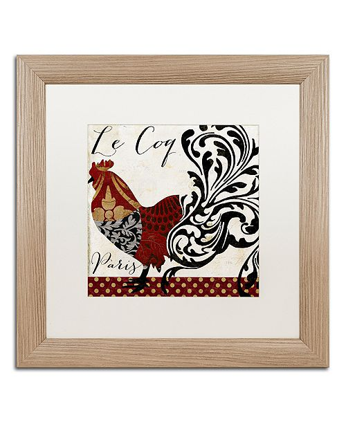 """Trademark Global Color Bakery 'Roosters Of Paris I' Matted Framed Art, 16"""" x 16"""""""