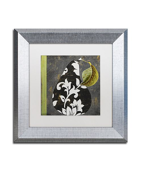 "Trademark Global Color Bakery 'Decorative Pear Ii' Matted Framed Art, 11"" x 11"""