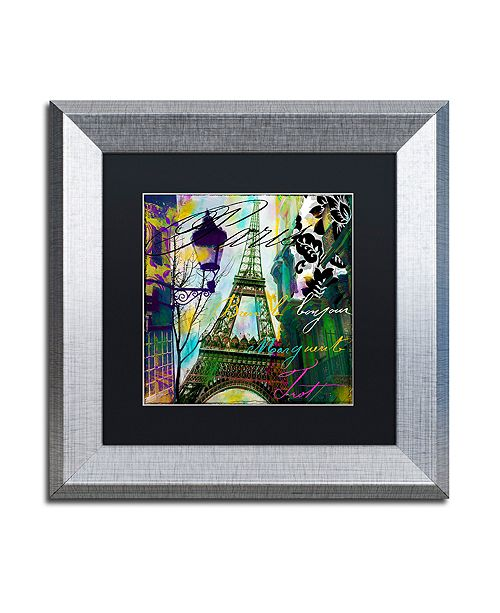 "Trademark Global Color Bakery 'To Paris With Love I' Matted Framed Art, 11"" x 11"""