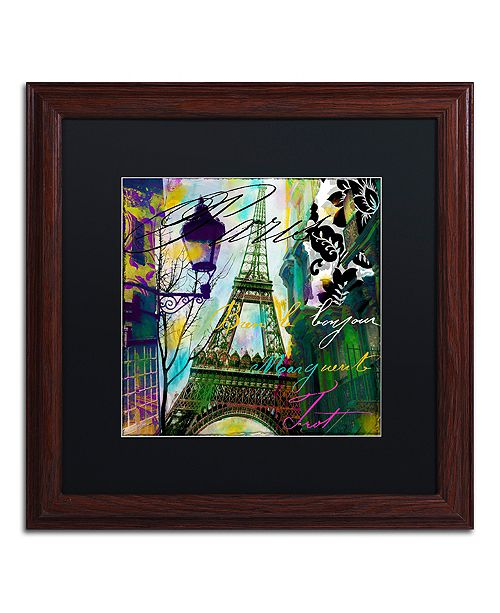 "Trademark Global Color Bakery 'To Paris With Love I' Matted Framed Art, 16"" x 16"""