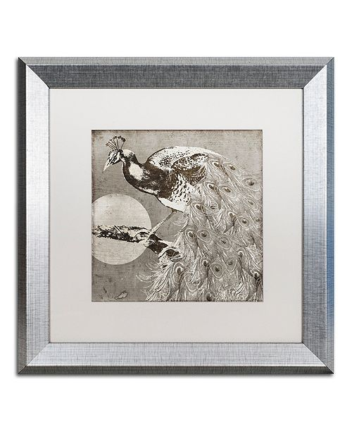 "Trademark Global Color Bakery 'Moon Peacock' Matted Framed Art, 16"" x 16"""