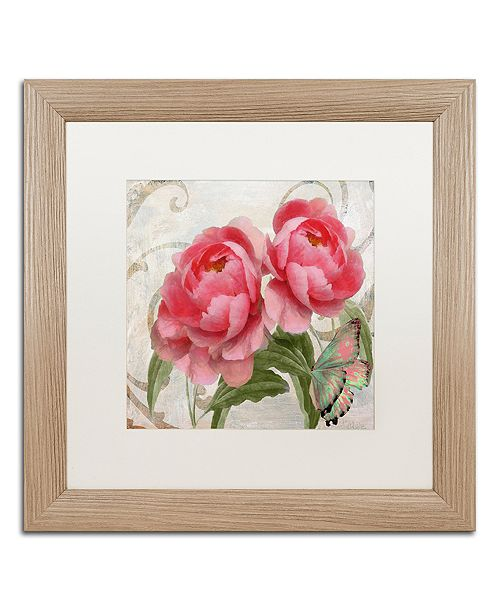 """Trademark Global Color Bakery 'Apricot Peonies I' Matted Framed Art, 16"""" x 16"""""""