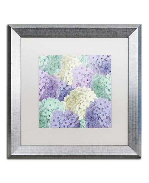 "Trademark Global Color Bakery 'Hortensia Groundless Cool Tones' Matted Framed Art, 16"" x 16"""