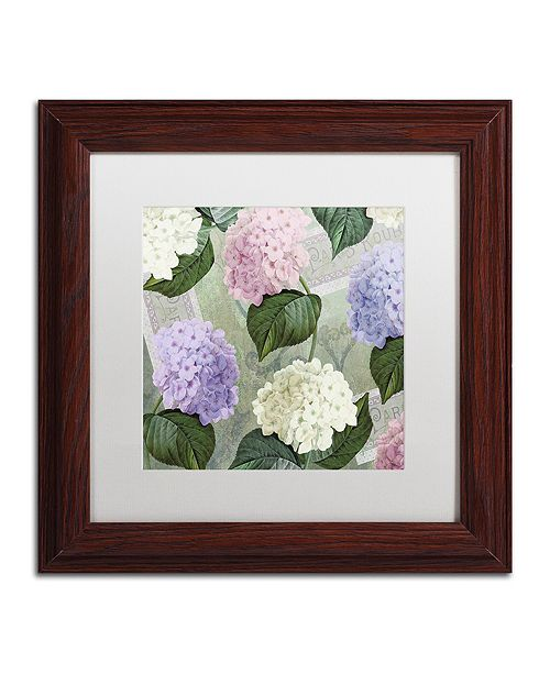 "Trademark Global Color Bakery 'Hortensia Soft Green' Matted Framed Art, 11"" x 11"""