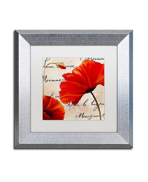 """Trademark Global Color Bakery 'Coquelicots Rouge Ii' Matted Framed Art, 11"""" x 11"""""""