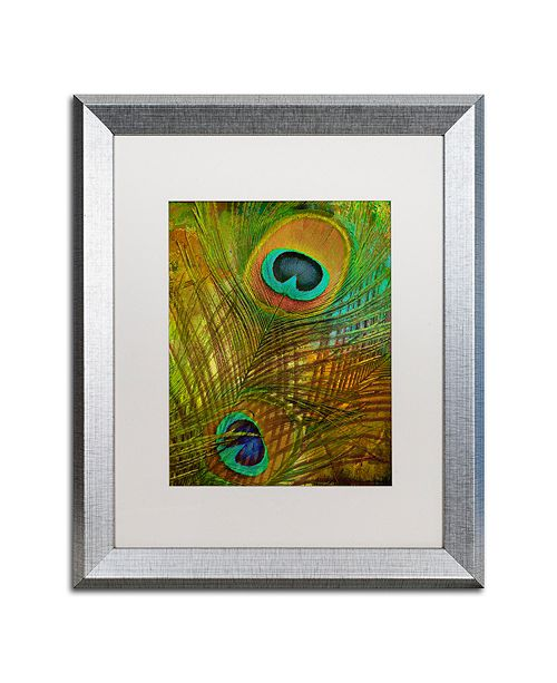 """Trademark Global Color Bakery 'Peacock Candy Ii' Matted Framed Art, 16"""" x 20"""""""