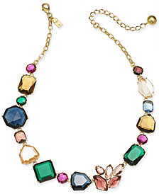"kate spade new york Gold-Tone Multi-Crystal Collar Necklace, 17"" + 3"" extender"
