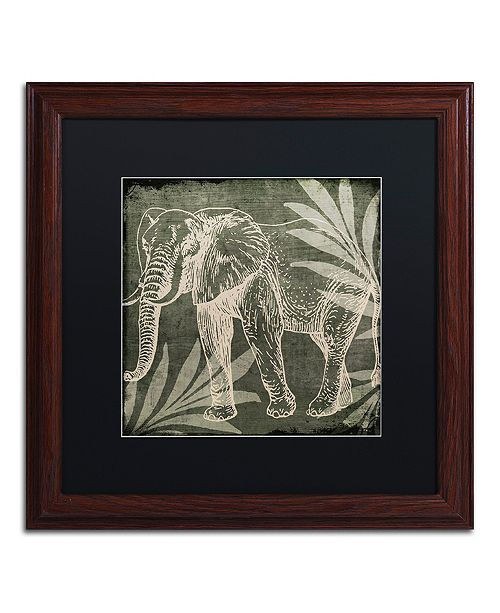 "Trademark Global Color Bakery 'Elephant 1' Matted Framed Art, 16"" x 16"""