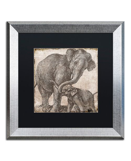"Trademark Global Color Bakery 'Elephant 2' Matted Framed Art, 16"" x 16"""
