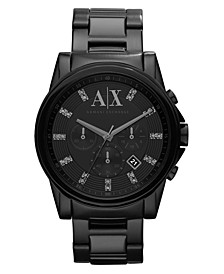 Watch, Men's Chronograph Black Ion Plated Stainless Steel Bracelet 45mm AX2093