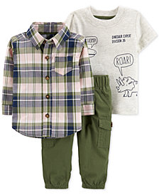 Carter's 3-Pc. Baby Boys Cotton Plaid Shirt, Roar-Print T-Shirt & Pants Set