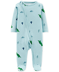 Carter's Little Planet Organics Baby Boys Dinosaur-Print Footed Cotton Coverall