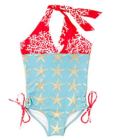 Masala Baby Girl's Halter One Piece  Starfish Turquoise