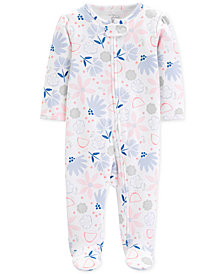 Carter's Little Planet Organics Baby Girls Floral-Print Footed Cotton Coverall