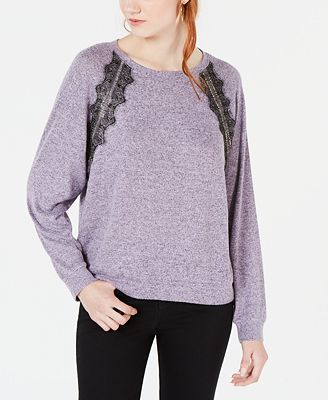 Ultra Flirt By Ikeddi Juniors Lace Trimmed Pullover Sweater