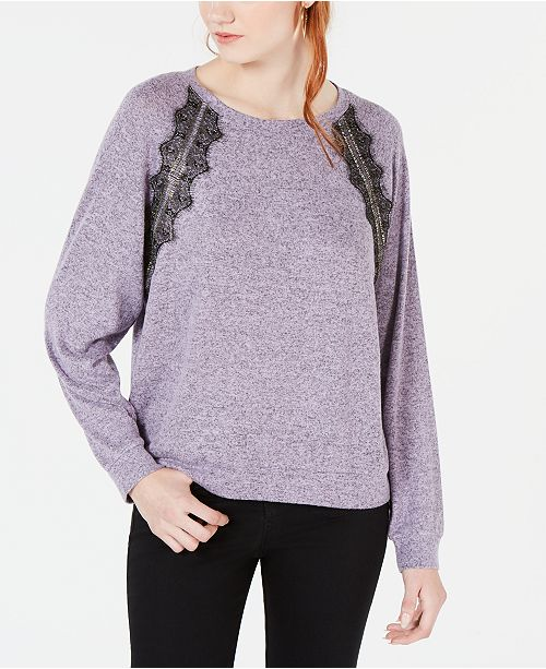 Ultra Flirt By Ikeddi Juniors' Lace-Trimmed Pullover Sweater