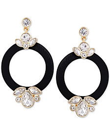 GUESS Gold-Tone Crystal & Wrapped Nylon Drop Hoop Earrings