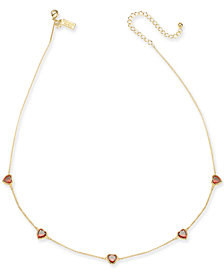 "kate spade new york Crystal Heart Collar Necklace, 17"" + 3"" extender"