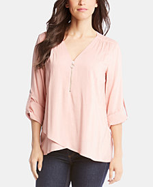 Karen Kane Zippered Crossover-Hem Top