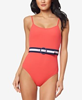 be298514f33 Jessica Simpson Ribbed Belted One-Piece Swimsuit