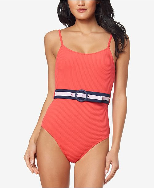 588847548915a Jessica Simpson Ribbed Belted One-Piece Swimsuit & Reviews ...