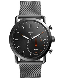 Fossil Men's Tech Commuter Smoke Stainless Steel Mesh Bracelet Hybrid Smart Watch 42mm