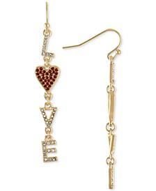 Gold-Tone Pavé Love Linear Drop Earrings