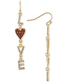 RACHEL Rachel Roy Gold-Tone Pavé Love Linear Drop Earrings