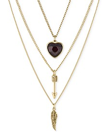 "Gold-Tone 3-Pc. Set Wing, Arrow & Crystal Heart Pendant Necklaces, 16"" + 2"" extender"