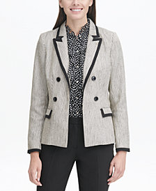 Tommy Hilfiger Faux Double-Breasted Tweed Blazer